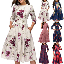New Arrival Women Vintage A-Line Dress 3/4 Sleeves Floral Print Round Neck Sundress for Autumn floral print round neck half sleeves vacation a line dress