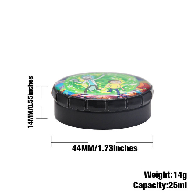 Rick And Morty Herb/Tobacco Box Container Storage Stash Jar 25 ML Herb Storage Case Cigarette Case Round Tin Click Clack Pop Up