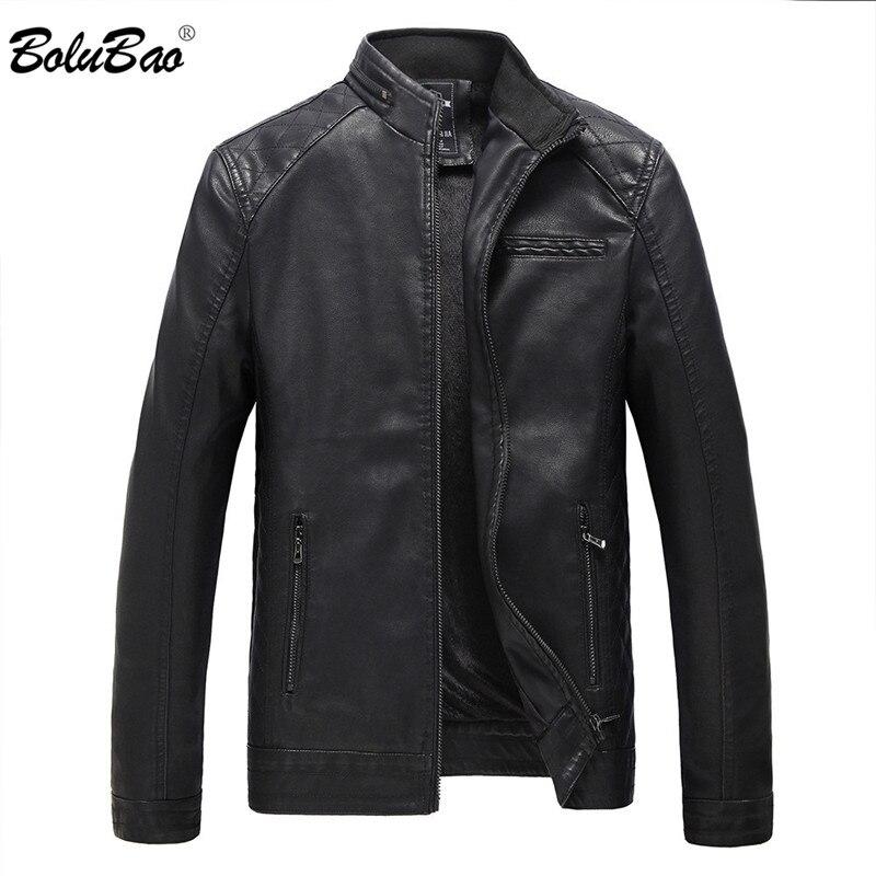 BOLUBAO Jacket Motorcycle Coats Fleece Winter Casual Male Windproof Thicken PU Zipper