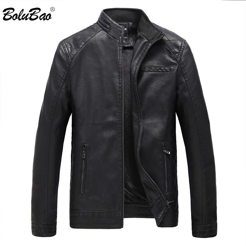 BOLUBAO Men Winter Leather Jacket Casual Zipper PU Motorcycle Thicken Fleece Men Jackets Male Windproof Leather Jackets Coats