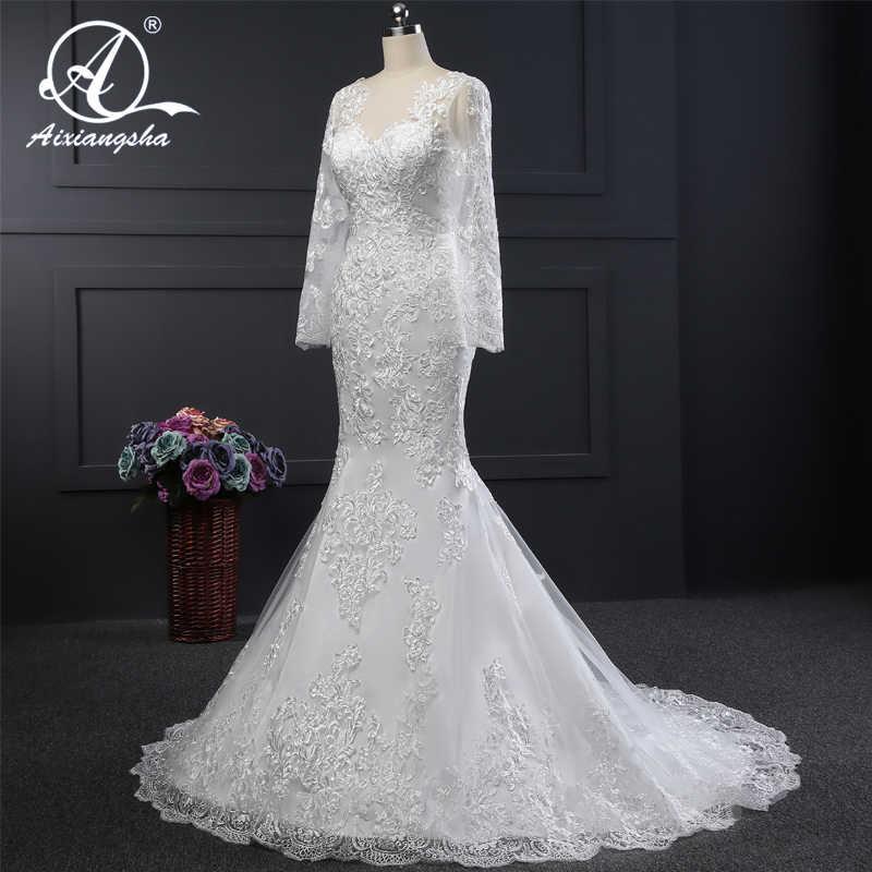 Очаровательное свадебное платье русалки с длинными рукавами, свадебное платье невесты, кружевное платье с аппликацией