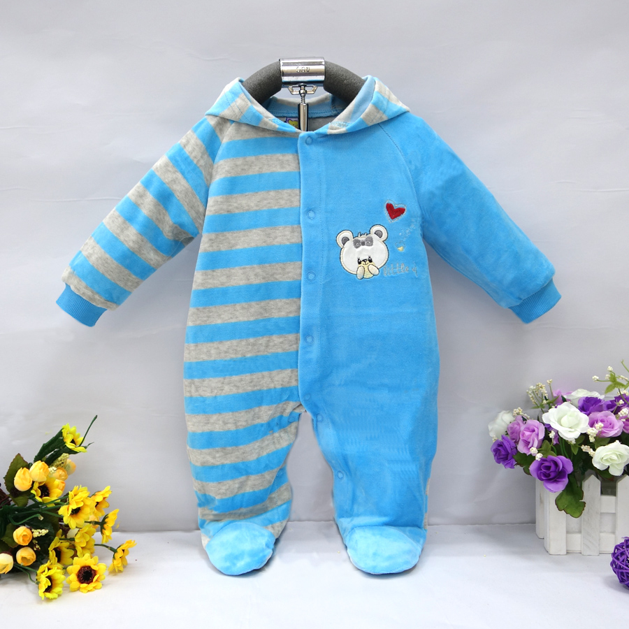 2017 baby hooded footie newborn girl infant boy clothing velvet winter spring one piece kid long