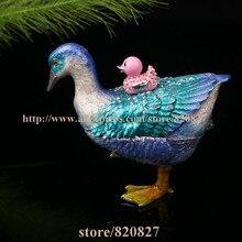 Goose Bejeweled Trinket Enamel Pewter Box Pewter Alloy Hinged Mallard Duck  Goose Keepsake Box, wentworth pewter page 1