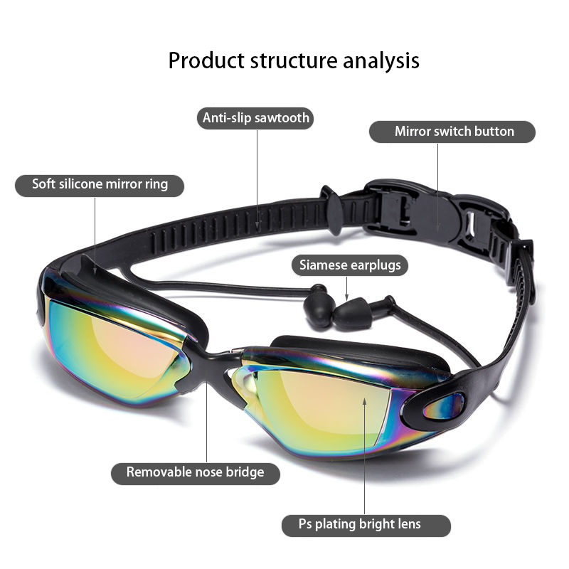 Swimming Goggles Women Men Swim Goggles Waterproof Suit HD Anti Fog UV Adjustable Prescription Glasses For Pools With earplugs in Swimming Eyewear from Sports Entertainment