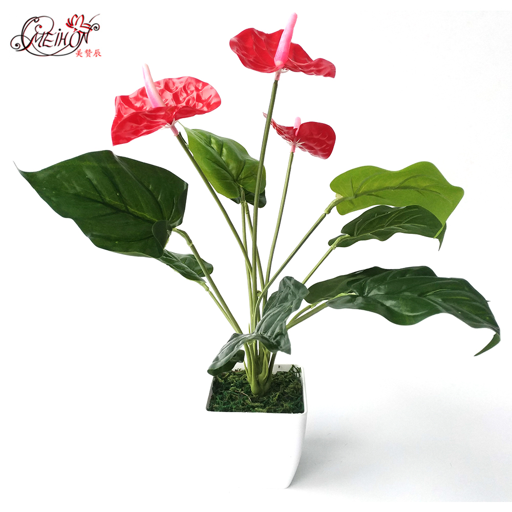 Anthurium Artificial Tree Fake Tree Green Plants Home Living Room  Decoration Bonsai(China)