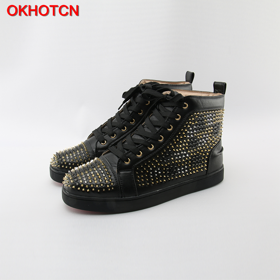 OKHOTCN Black Leanther Fashion Men Shoes Designer Silver Gold Rivets Studded Casual Shoes Lace Up High Top Cozy Leisure Sneakers