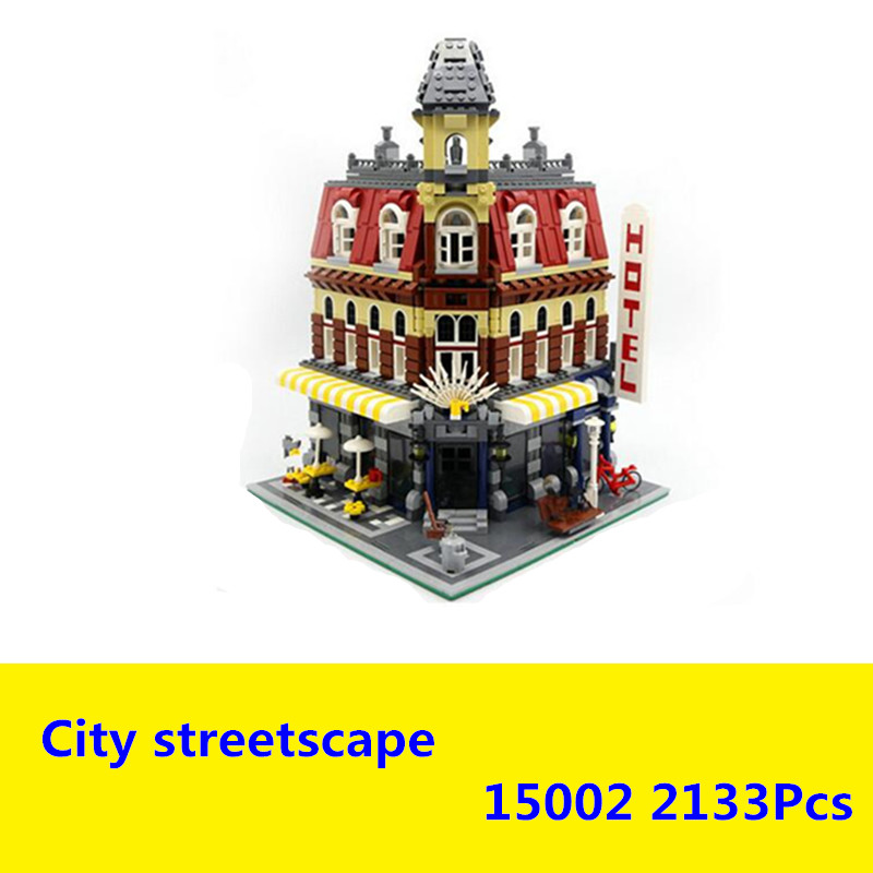 2017 New LEPIN 15002 2133Pcs Creators City Cafe Corner Model Building Kits Blocks Bricks Compatible Toys For Children Gift 10182 hot sembo block compatible lepin architecture city building blocks led light bricks apple flagship store toys for children gift