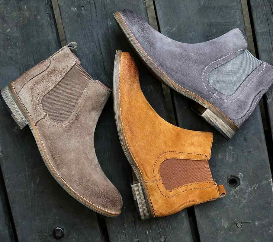 Nueva moda calidad otoño tobillo botas Retro gris para hombre clásico Retro zapatos de cuero para hombre botas impermeables para hombre