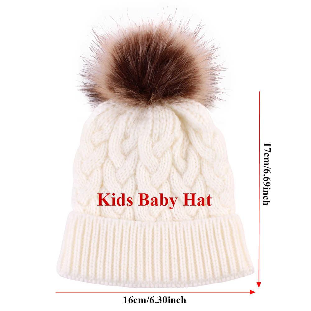 母 & ベビー子供冬のニットビーニー毛皮ポンポン帽子セットかぎ針毛玉スキーキャップ冬の屋外耳保護アクセサリー