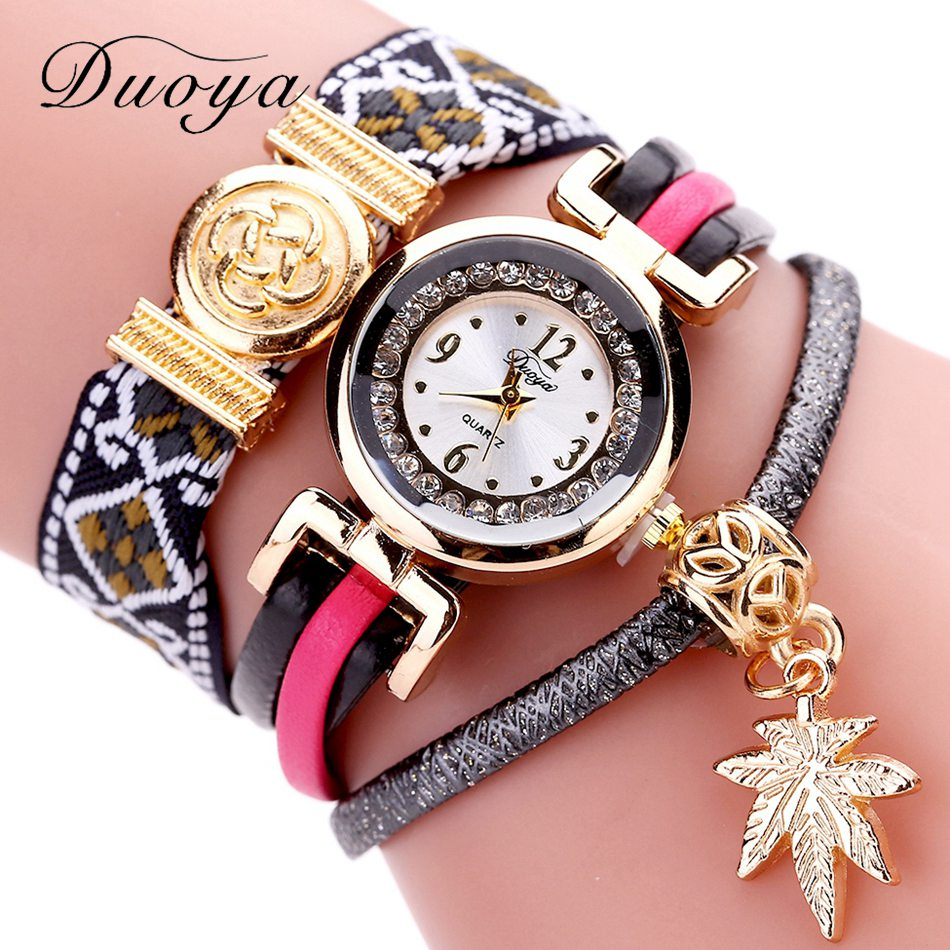Duoya Brand 2017 New Fashion Weave Leather Bracelet Watches Women Casual Dress Crystal Wristwatch Luxury Gold Leaf Quartz Watch 2016 spring autumn europe china style new tide men canvas casual shoes blue black letters print sewing elastic band flat shoes