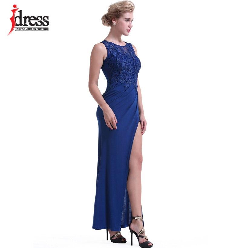 IDress Women Clothing Fashion 2017 Vestido Sexy Bodycon Summer Evening Long Dress O Neck Floor Length High Slit Black Maxi Dress (4)