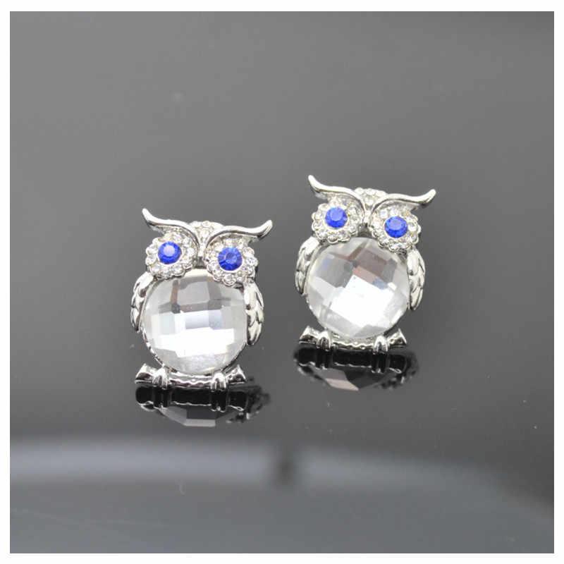 Baru Desain Crystal Wanita Pesona Burung Hantu Anting-Anting Anting-Anting Warna Lucu Fashion Perhiasan Putih Perak Warna Trendy untuk Pernikahan E298