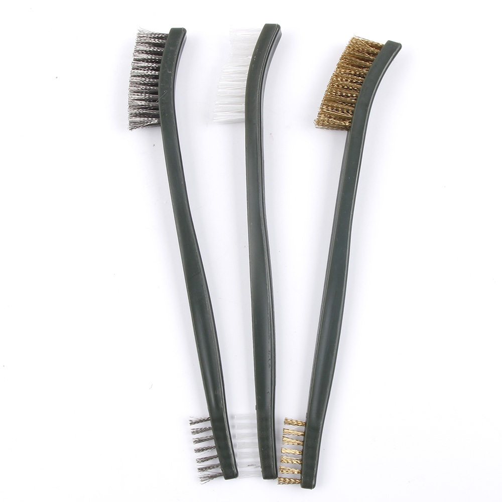 3pc Mini Wire Brush Set Steel Brass Nylon Cleaning Polishing Detail Metal