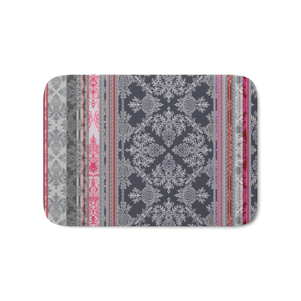 Burgundy Pink Navy & Grey Vintage Bohemian Wallpaper Bath
