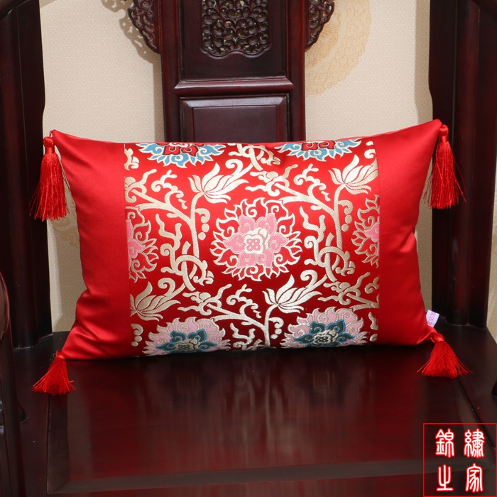 30*50cm Chinese Modern Brocade Embroidered Flower Patten Yellow Cushion Cover Without Interior For Car Sofa Office Home & Garden Cushion Cover