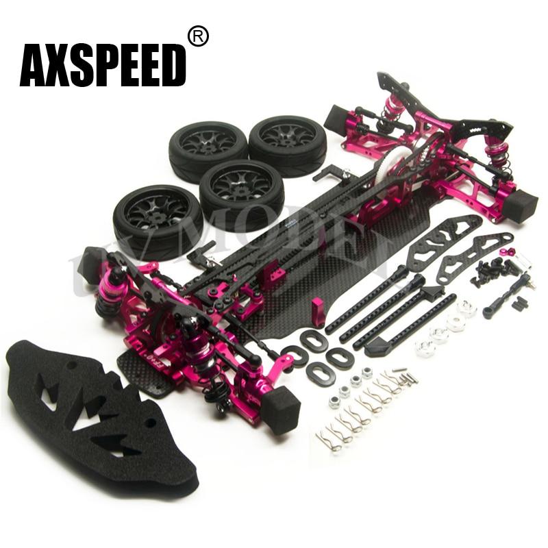 Alloy & Carbon RC 1/10 SAKUR XIS Drift Racing Car Frame Body Kit w/ Wheels FOR SAKUR XIS axspeed sakur xis frame kit alloy