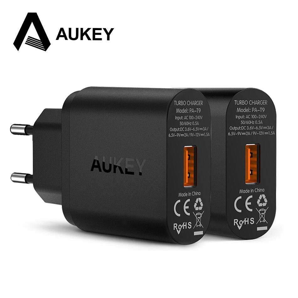 imágenes para AUKEY Carga Rápida 3.0 Qualcomm EE. UU. Plug Cargador de Pared USB de LA UE QC3.0 Mini Auto Viajes de Carga Para el iphone de Apple 6 s HTC y Smartphone