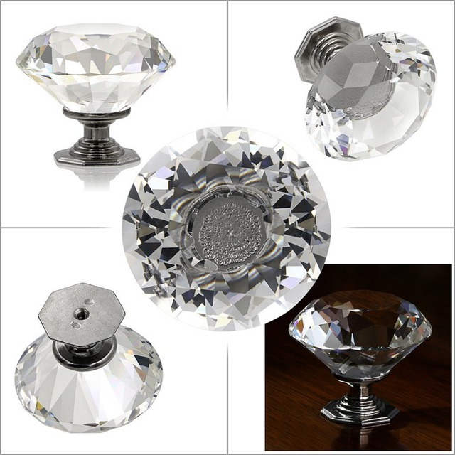 5 pcs 50mm diamond shape clear crystal glass door knobs drawer