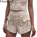 Glamaker Lace up suede shorts women Pockets spring elegant high waist shorts Loose zipper sexy shorts 2017