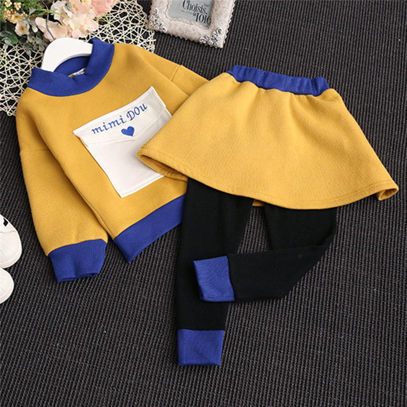 ФОТО Baby Girls Letters Long Sleeve Tops Casual Tee Trousers Sets Toddler Kid Children Warm T Shirt Long Skirts Pants Clothing Sets