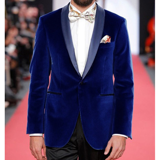 Fashionable One Button Blue Velvet Groom Tuxedos Shawl Lapel Groomsmen Mens Wedding Suits Blazers (Jacket+Pants+Tie) W:618