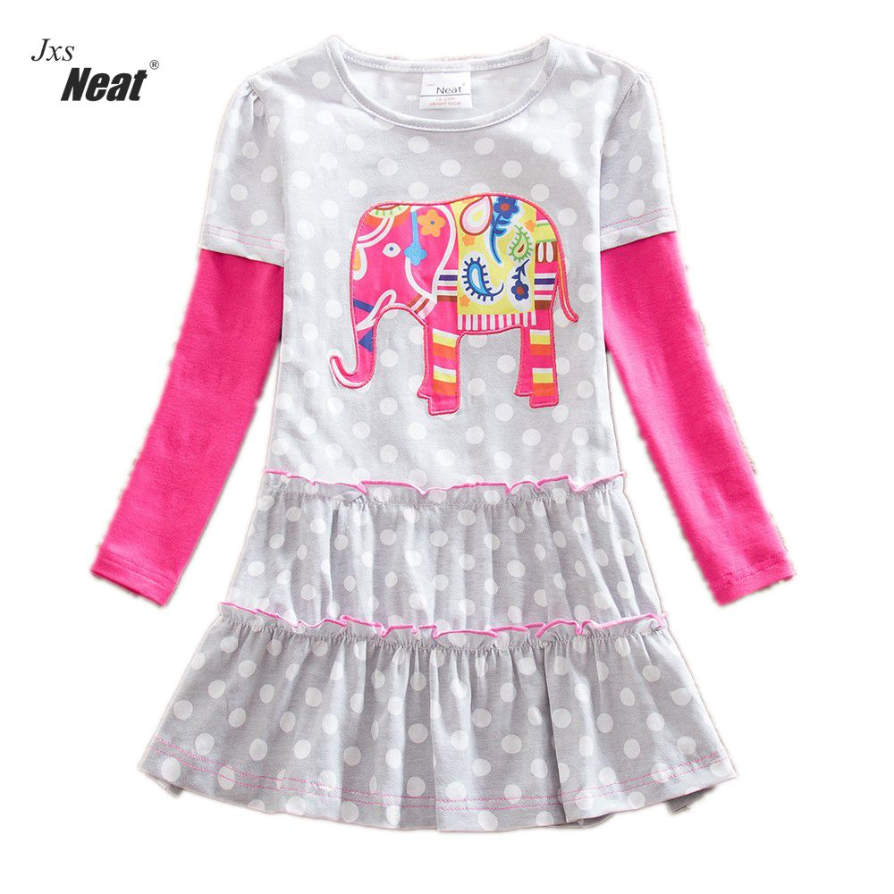 NEAT retail New baby girl clothes college style Lovely girls dresses kids clothes Long sleeve dress cartoon Elephant LH605 neat brand retail baby girl clothes lovely dresses kids clothes girl party dress long sleeve 100