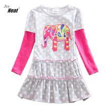 NEAT/Розничная продажа новые детские одежда для девочек колледж Стиль прекрасные платья для девочек детская одежда платье с длинными рукавами С Рисунком Слона LH605