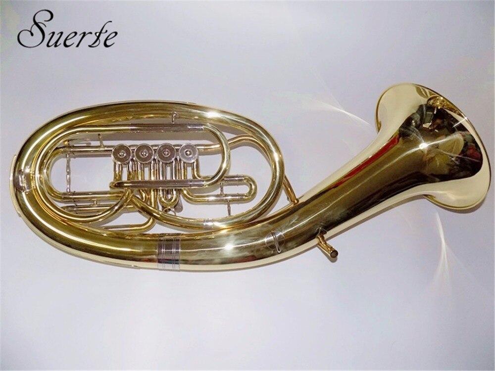 Instruments de corne de baryton 4 soupapes en laiton jaune avec étui en mousse et embout instruments de musique professionnels