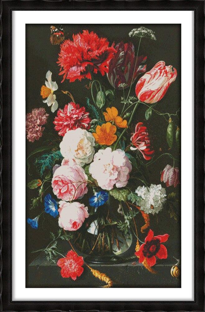 Joy sunday le vase de pivoine (5) kits de motif de point de croix artisanat faire de la broderie avec tableau