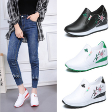 Platform Sneakers White Casual Shoes Slip on Women PU Lather Shoes Flower Height Increased Spring Summer Wedge Sneakers BTF1016