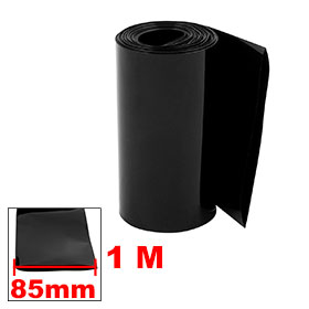 uxcell 85mm Flat Width 1M Length PVC Heat Shrink Tube Black for 18650 Battery Pack Insulation casing shrink Hot Sale1PCS
