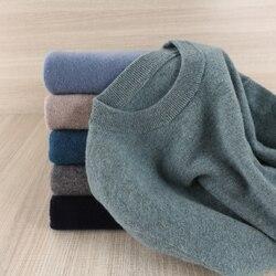 Мужской свитер с круглым вырезом, 100% шерсть, вязаный, теплый, большой размер, 8 видов цветов