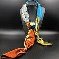 Женщины Шарф Hollow Блестящий Кристалл Ювелирные Изделия Декоративные Печати Шелковые Шарфы Мода Длинное Ожерелье Женщин Шарф 2016 Новый Прибытие
