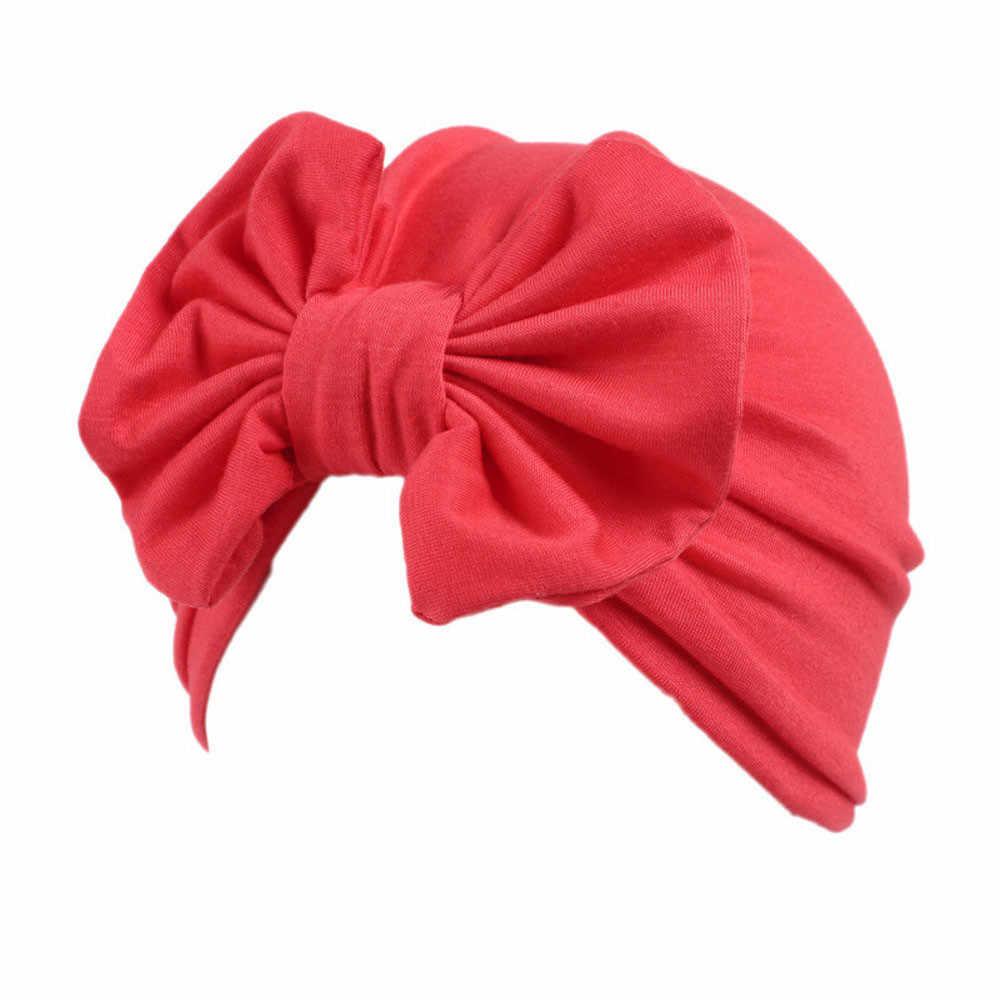 Niños Niñas Boho sombrero Invierno Caliente gorros gorro bufanda giro frontal sombrero Bowknot turbante cabeza envoltura tapa fotografía accesorios * 15