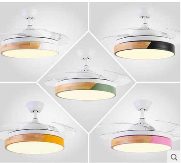 Modern Ceiling Fans With Lights For Living Room 42 Inch Remote Control Ceiling Fan Lamp Solid Wood LED Ventilator
