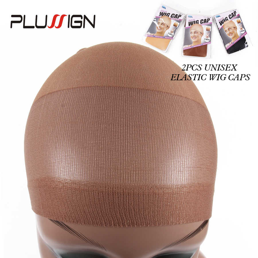 Invisible Soft Wig Net Cap Stocking Wig Liner Cap Black Brown Blonde Stocking Wig Cap Beige 2Pcs(1Pack) Nylon Wig Caps For Women