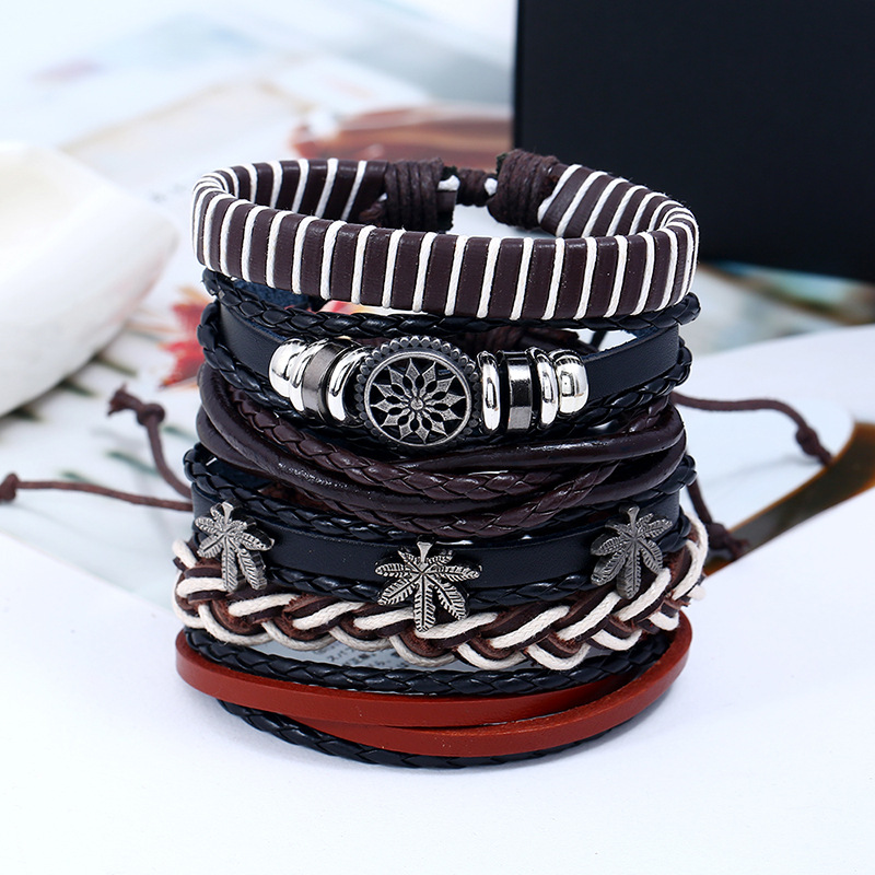 6Pcs/Lot Wholesale Vintage Leather Bracelets Set for Women Bracelet Male Braslet Femme Pulseira Leaf Jewelry Girls Gift