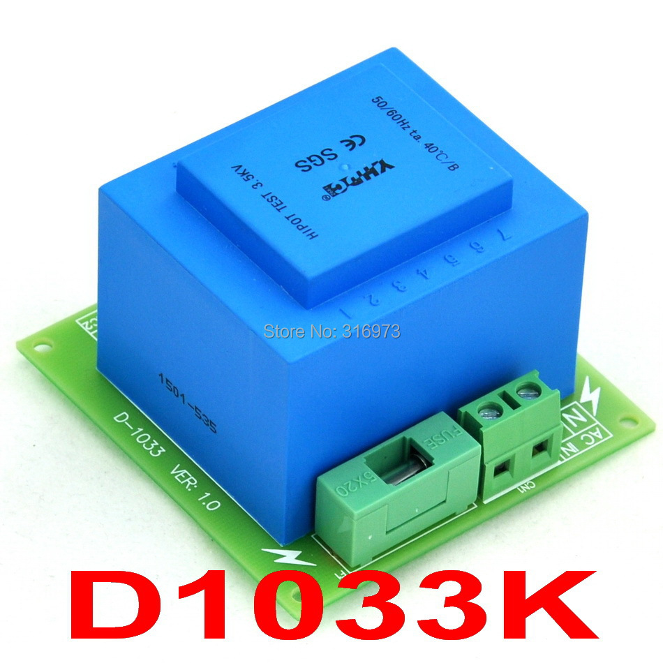 Primary 115VAC, Secondary 2x 15VAC, 20VA Power Transformer Module,D-1033/K,AC15V