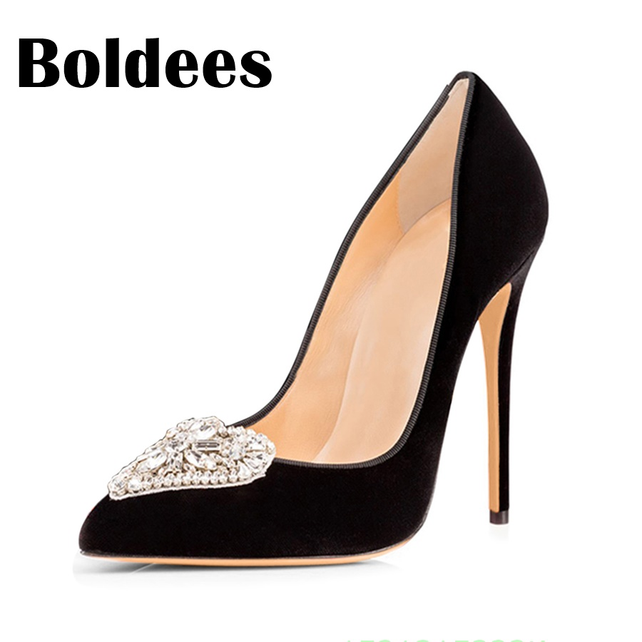 Boldee Women Pumps 2018 Pointed Toe Slip on Suede High Heels Wedding Shoes Woman Ladies Fashion Thin Heel Zapatos Mujer Plus Siz 2018 women yellow high heel pumps pointed toe metal heels wedding heel dress shoes high quality slip on blade heel shoes