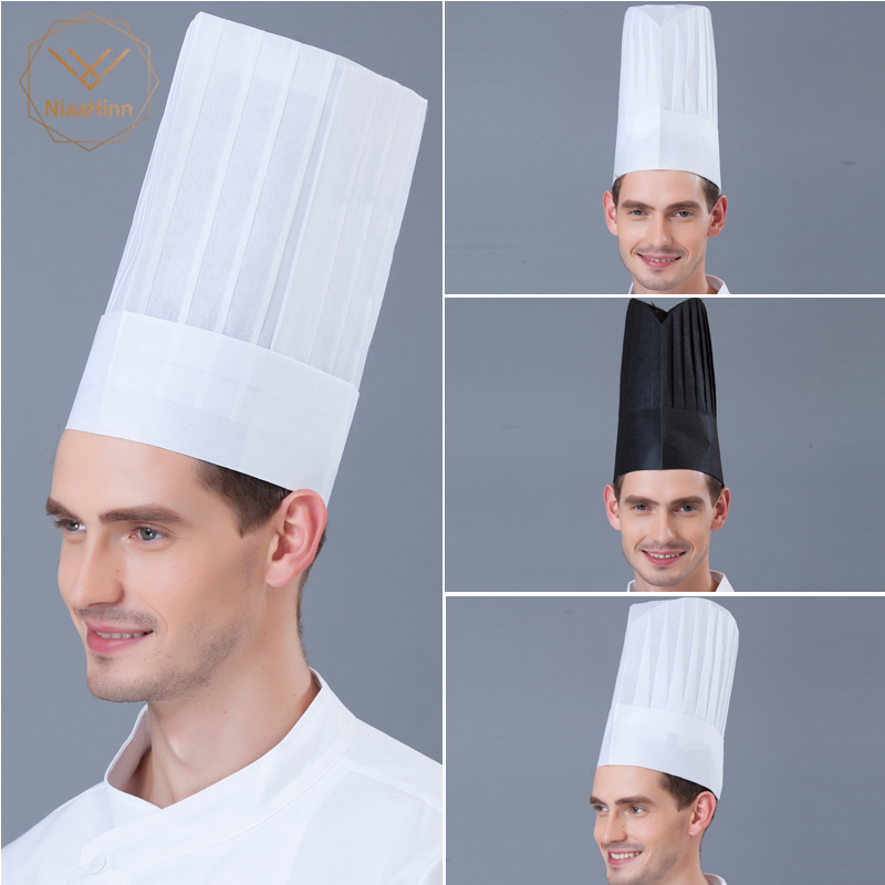 10pcs Chef Hat Disposable Paper Cap Fiber Non-woven Cap Red Hat Black And White High Hat Hotel Restaurant Chef Hat