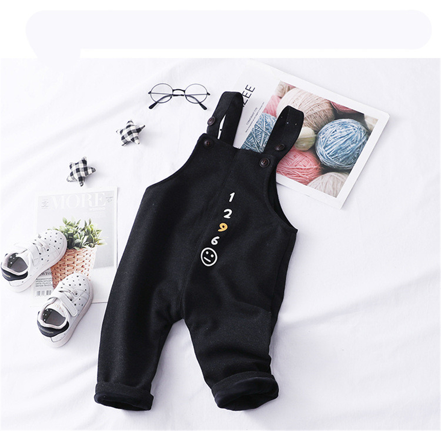 Girls Overalls Trousers Suspenders Jumpsuit Children Open-Crotch Knit Baby-Boy Winter
