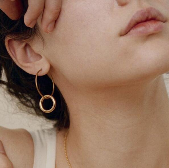 2019 New Fashion Gold Silver Geometric Hoop Dangle Earrings For Women Ladies Girls Birthday Party Wedding Gift Jewelry Wholesale in Drop Earrings from Jewelry Accessories