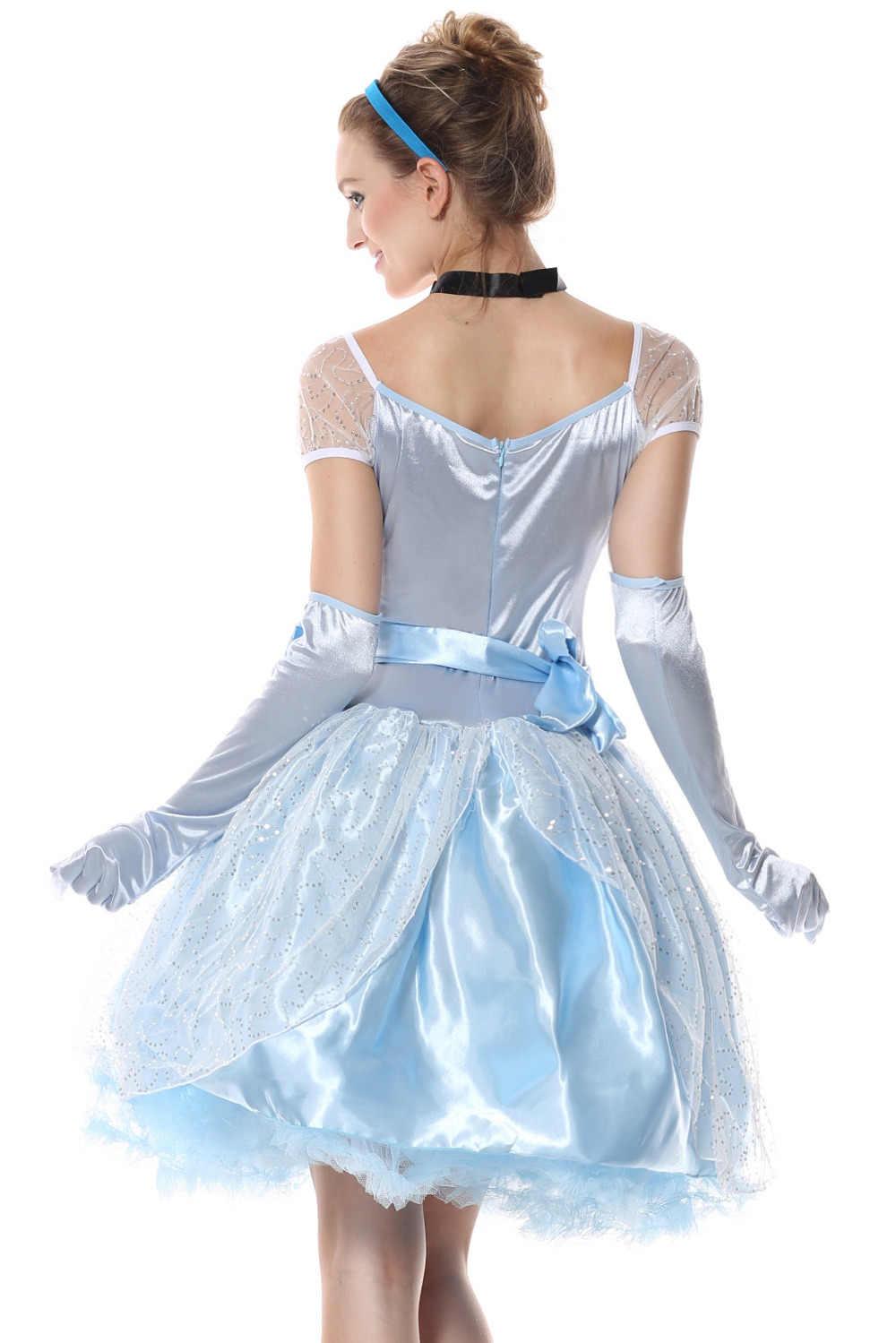 Venda quente conto de fadas princesa cinderela vestido adulto feminino halloween cinderela trajes cosplay jogo roupas