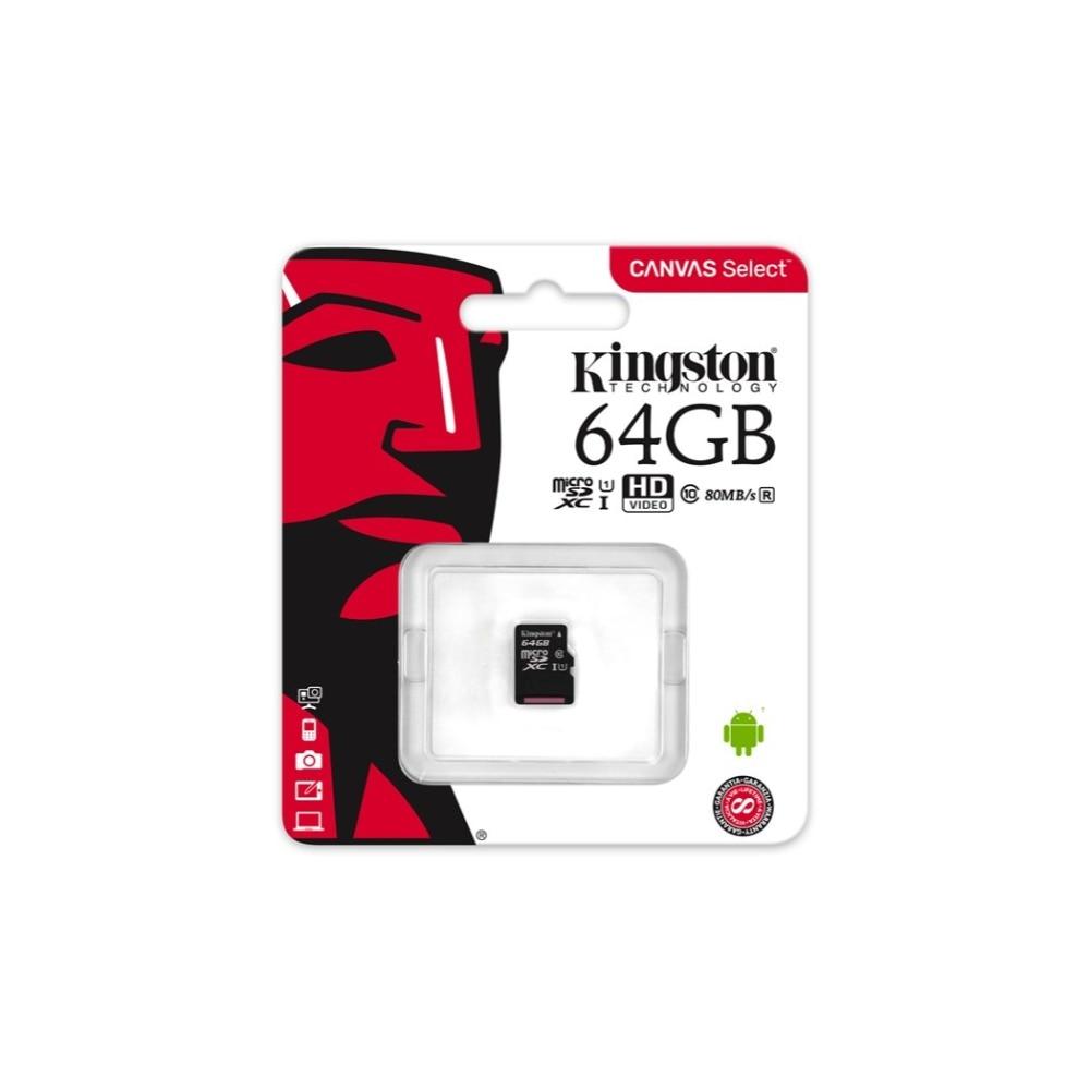 Kingston Leinwand Wählen 64 gb microSDHC Class 10 microSD Speicher Karte R-Speicher Karte mit Adapter (SDCS/ 64 gb) UHS-I 80 mb/s