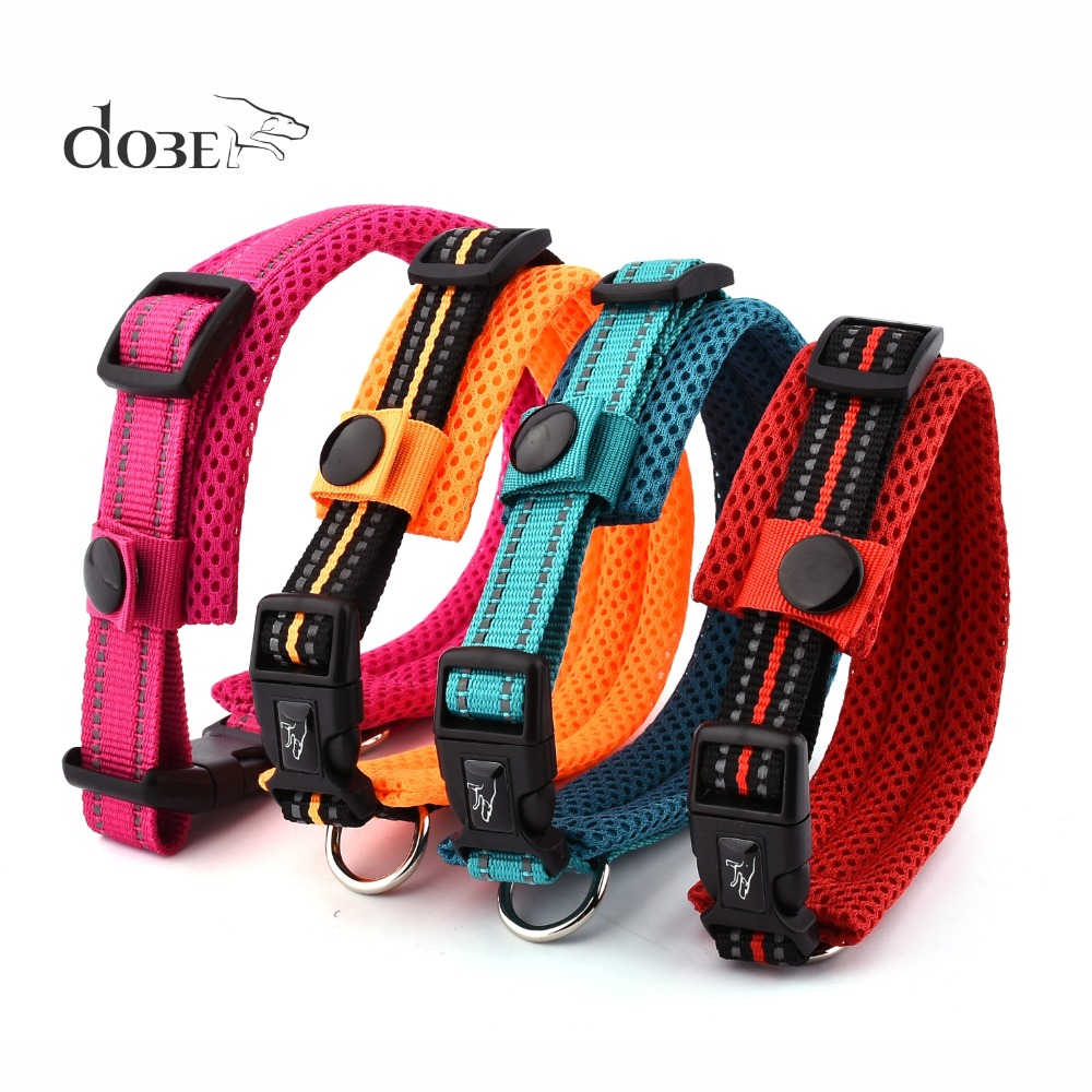 New Stylish Dog Collar Nylon Reflective Pet Collars Breakaway Quick Release Dog Necklace Basic Collar With Mesh Padded Strap
