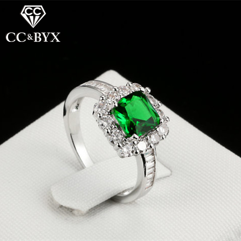 CC Anelli Rings For Women Fashion Jewelry Luxury Square Green Stone Ring Party Bridal Wedding Engagement Anillos CC1096