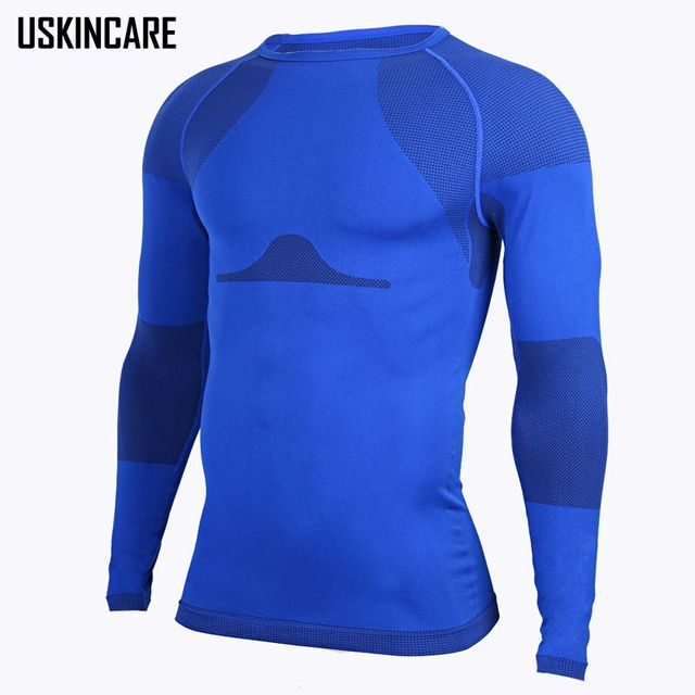 Compression Men's Shirts Long Sleeve Base Layer T-Shirt O-neck Collar  Breathable Quick Dry Blue Casual Tee Shirts JW035