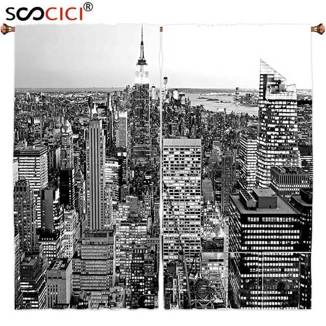 Gordijnen Behandelingen 2 Panelen, New York Decor Panorama van ...