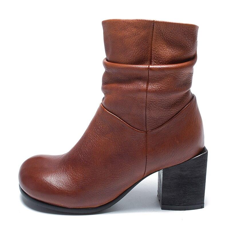 Cuero Dedos Zapatos Mano Genuino Negro Falda Cremallera Los marrón A La Ronda De Mujer Botas Tacón Pies 2018 Vallu Alto Vintage xf4zqqX
