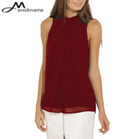 Avodovama M Sleeveless Stand Collar Women Blouse New Summer Elegant Solid Women Chiffon Blouse Tops